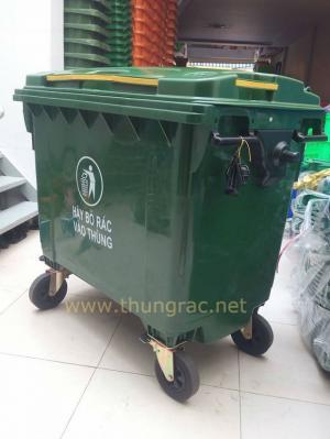 Địa chỉ bán thùng rác composite 660 lit có 3 bánh xe lớn