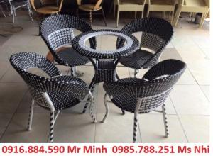 Bàn ghế cafe mây nhuạ giá rẻ tại xưởng sản xuất HGH 0044