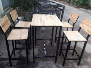 Bộ bàn ghế gỗ chân cao kinh doanh quán ăn