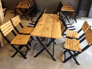 bàn ghế gỗ xếp quán nhậu giá rẻ tại xưởng sản xuất HGH 00016
