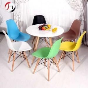 Bộ bàn ghế nhựa nhìu màu có chân trụ gỗ