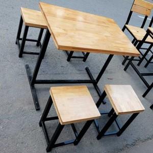 Bộ bàn ghế gỗ mặt vuông chân cao