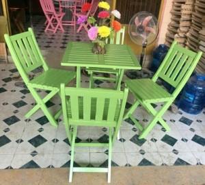 Bộ bàn ghế xếp màu xanh lá cây kinh doanh quán sinh tố
