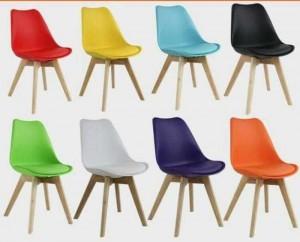 Ghế nhựa nhìu màu chân gỗ