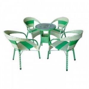 Bàn ghế mây nhựa cafe HM006