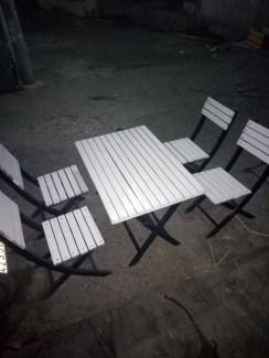 Bàn ghế gỗ xếp màu trắng,giao hàng toàn quốc