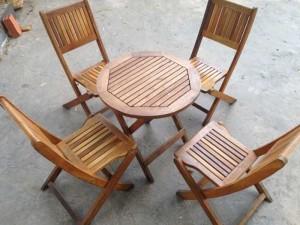 Bàn ghế gỗ xếp HM006