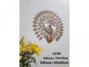 Đồng hồ trang trí Công Vàng S299 KT 70x70