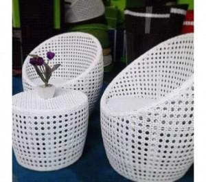 Ghế đan mây nhựa màu trắng