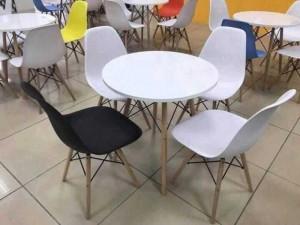 Ghế nhựa chân gỗ phong cách sang trọng