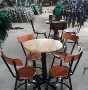 Bộ bàn ghế gỗ cho kinh doanh quán ăn, bàn tròn