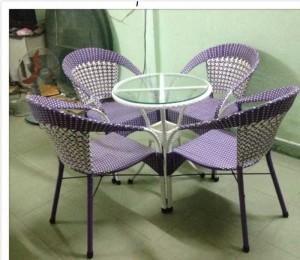 Bộ bàn ghế nhựa giả mây cho quán cafe