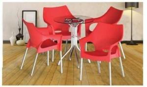 Bộ bàn ghế cafe giá rẻ, bàn tròn mặt kính cho kinh doanh cafe