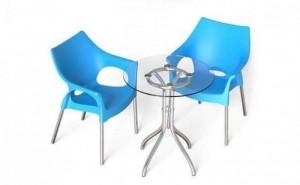 Bộ bàn 2 ghế nhựa 1 bàn tròn mặt kính