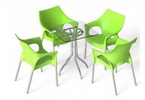 Bộ bàn ghế kinh doanh quán cafe 4 ghế 1 bàn mặt kính