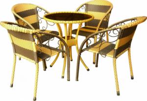Bộ bàn ghế nhựa giả mây 4 ghế 1 bàn tròn mặt kính giá rẻ