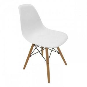 Ghế nhựa màu trắng có chân gỗ