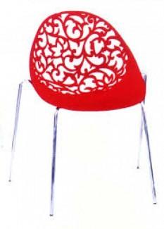 Ghế nhựa hoa văn màu đỏ