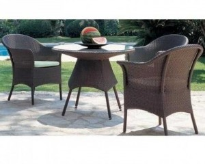 Bộ bàn ghế nhựa giả mây 3 ghế 1 bàn tròn