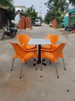 Bộ bàn ghế nhựa cafe màu cam