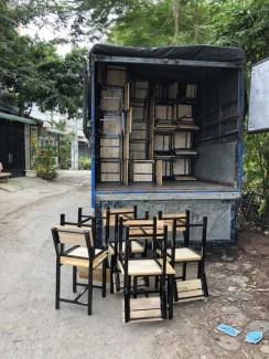 Xã hàng lô ghế gỗ sắt kinh doanh quán ăn giá rẻ
