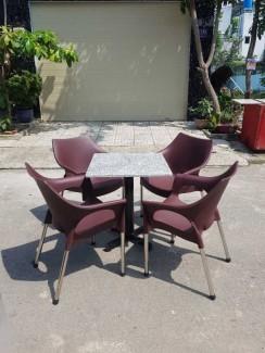 Bộ bàn ghế nhựa giá rẻ, chân inox cực bền
