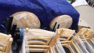 Lô ghế bàn ăn, bàn tròn, gỗ thông cực tốt