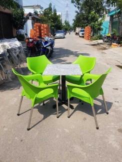 Bộ bàn ghế nhựa giá rẻ, nhựa đúc, chân inox