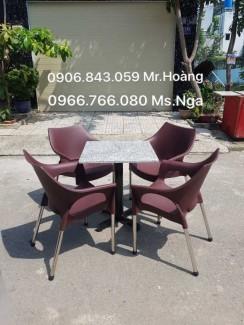 Bộ bàn ghế nhựa cafe màu nâu giá rẻ
