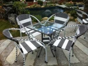Bộ bàn ghế mây nhựa cafe