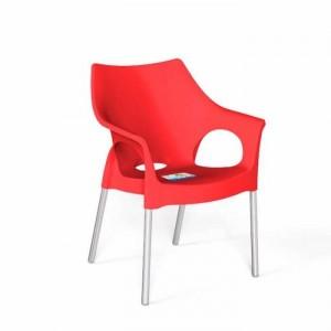 Ghế nhựa màu đỏ,chân inox