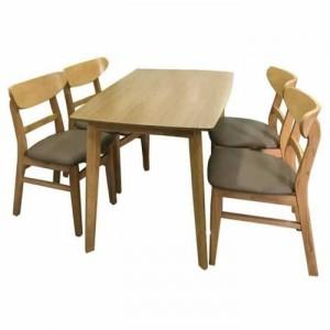 Bộ bàn ghế gỗ dài và ghế bọc nệm