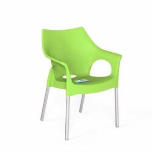Ghế nhựa xanh lá cây,chân inox