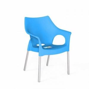 Ghế nhựa xanh dương,chân inox