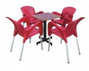 Bộ bàn ghế nhựa chân inox