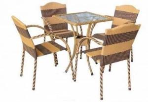 Nguyên bộ bàn ghế cafe nhựa giả mây