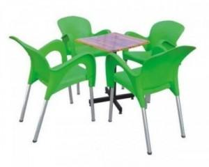 Bộ bàn ghế chân inox nhựa đúc