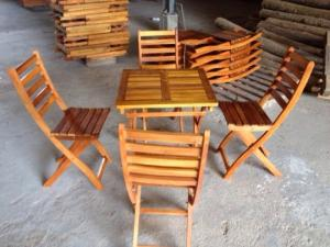 Bàn ghế cafe gổ xiếp giá rẻ tại xưởng sản xuất HGH 000334