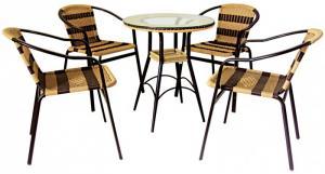 Bàn ghế cafe mây nhựa giá rẻ tại xưởng sản xuất HGH 00043