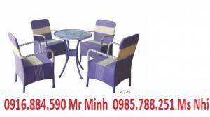 Bàn ghế cafe mây nhựa giá rẻ tại xưởng sản xuất HGH 00044