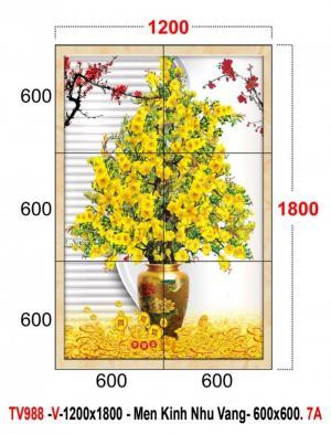 Gạch tranh 3d hoa mai vàng