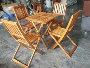 Bàn ghế cafe gỗ xếp size lớn