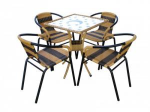 bàn ghế cafe mây nhựa giá rẻ tại xưởng sản xuất HGH 80