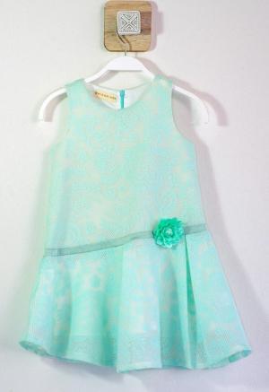 Đầm tùng xòe ren hoa lá xanh ngọc đính bông mẫu đơn bên eo cho bé gái HIKARI-3