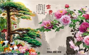 Tranh gạch men 3d cây tùng hoa mẫu đơn