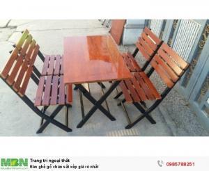 Bàn ghế gổ quán nhậu giá rẻ tại xưởng sản xuất HGH 119