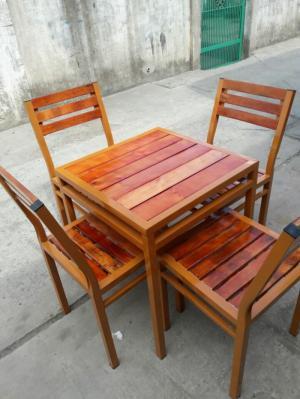 Bàn ghế gổ quán nhậu giá rẻ tại xưởng sản xuất HGH 120