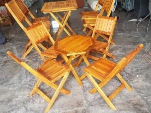 Bàn ghế cafe, bộ bàn ghế gổ xếp giá rẻ