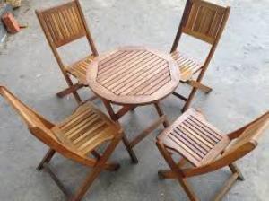 Bàn ghế gổ xiếp cafe giá rẻ tại xưởng sản xuất HGH 344