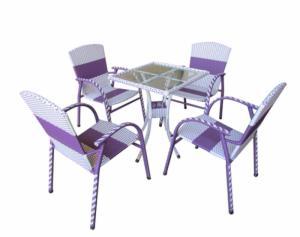 bàn ghế cafe mây nhựa giá rẻ tại xưởng sản xuất HGH 143